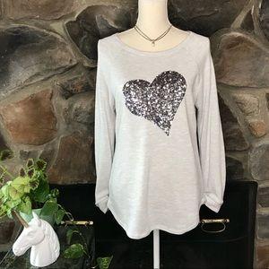 🦄🆕 INC Sequin Heart Lightweight Sweatshirt ~ L